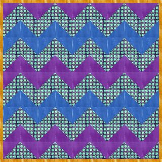 Meadowlark chevron blue teal dots orange border